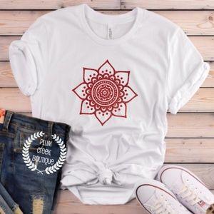 Red Mandala TShirt Power Strength NEW NWT White